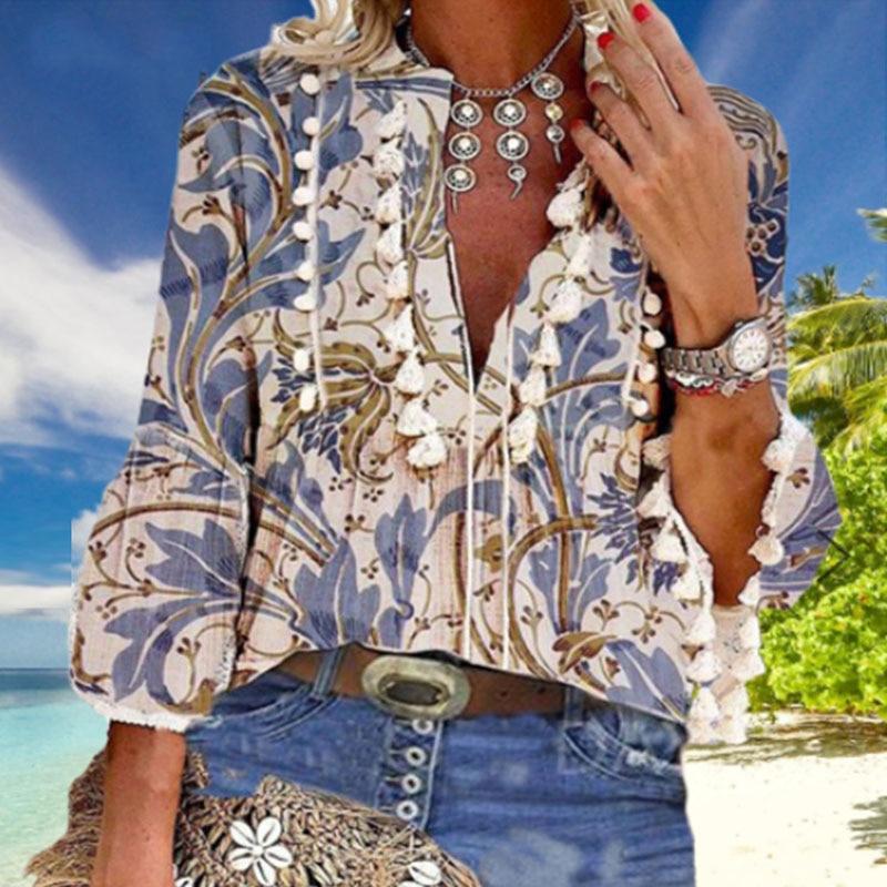 Boho Blouse Elegant V Neck Tassel Women Tops Sexy Three Quarter Sleeve Floral Print Shirt 2020 Spring Autumn Chic Blouses S-2XL 7