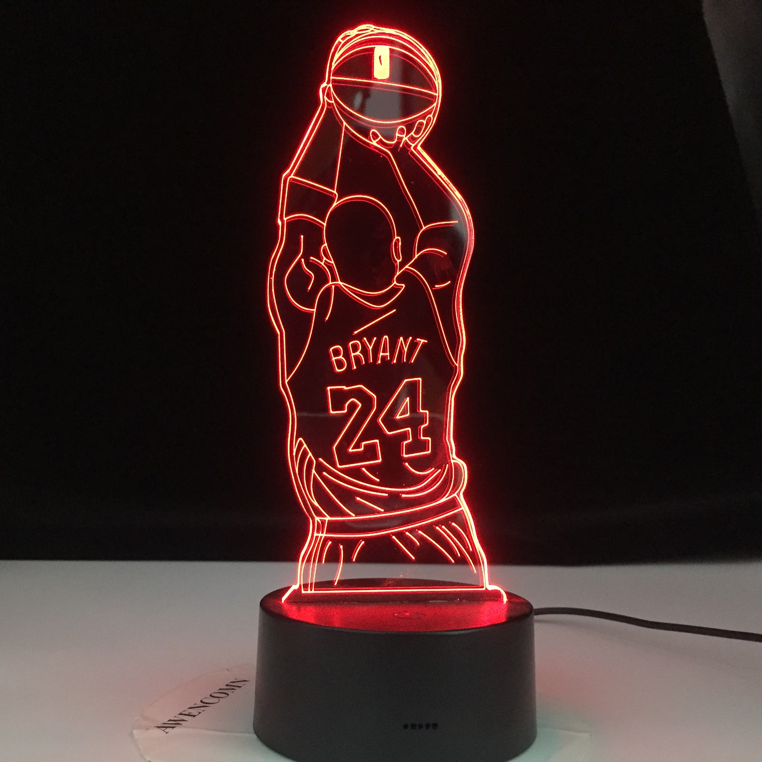 Kobe Jump Shoot Figure Back View Bedroom Decor Nightlight Led Night Light Desk 3d Lamp Dropshipping Kobe Bryant Memorial Gifts