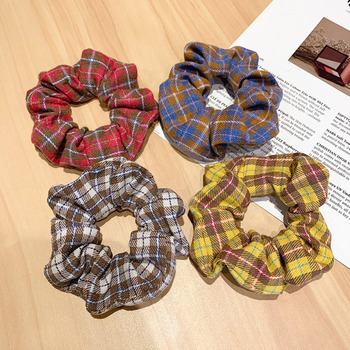 [Xwen] 2020 New Simple Cloth Plaid Pig Large Intestine Hair Rope Women Tie Head Elastic Headrope Fat Hairband OH1790
