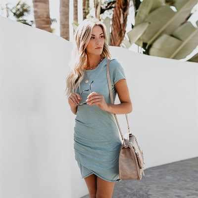 2020 bayan elbiseler 10 renkli seksi kadın giyim ekip boyun kılıf için düzensiz kadın elbisesi kısa kollu kadın elbise yaz