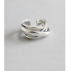925 ayar gümüş yüzük kadınlar için Bohemian ayarlanabilir geometrik düzensiz yüzük abartılı yenilik takı S-R406