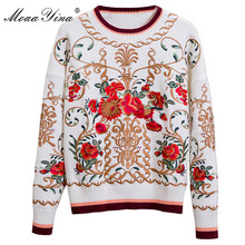 MoaaYina Fashion Designer Knitting Pullovers Sweater Autumn Women Long sleeve Floral Embroidery Keep warm Knitting Sweater