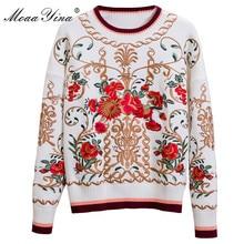 MoaaYina projektant mody na drutach swetry sweter jesień kobiet z długim rękawem kwiatowy haft zachować ciepły sweter na drutach