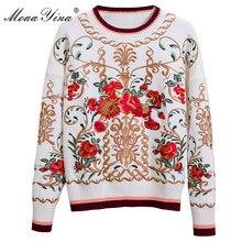 MoaaYina แฟชั่นถักเสื้อกันหนาวฤดูใบไม้ร่วงผู้หญิงแขนยาวลายดอกไม้เย็บปักถักร้อยอุ่นถักเสื้อกันหนาว