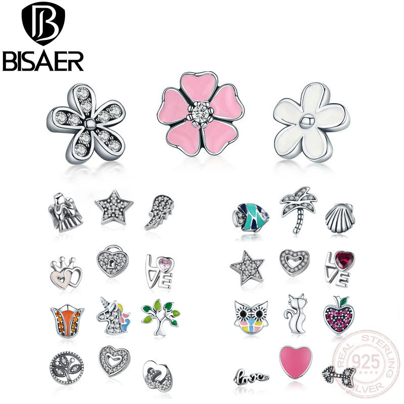 BISAER 925 Sterling Silver Box Original Petite Memories Tropic Family Forever Petite Charm For Necklace Tiny Small DIY Charms