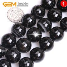 6 18 мм натуральные круглые черные полоски оникс бусы из камня