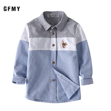 GFMY 2020 Spring 100% Oxford Textile Cotton Full Sleeve Embroidery Pattern Boys Shirt 3T-12T Splice Kid Casual Clothes 9012