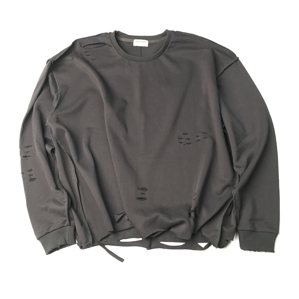 Spring Inside-out Thin Terry Sweatshirt Kanye West Oversize Ripped Holes Pullover Men Streetwear