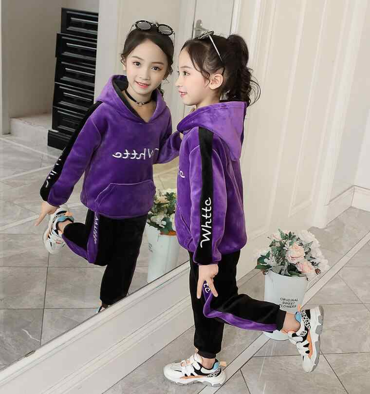 Anak Laki-laki Musim Gugur Musim Dingin Olahraga Sesuai dengan Anak Pakaian Set Tebal Beludru Hoodie + Celana 2PCS Anak Pakaian Latihan Yg Hangat 3-10Y Pakaian Olahraga