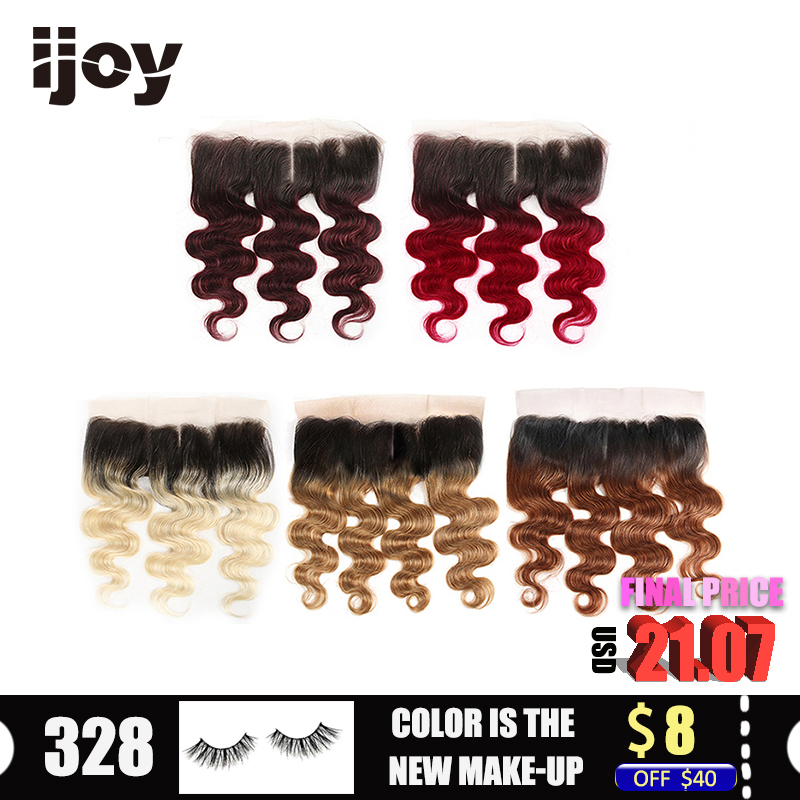 """Human Hair With 4x13 Lace Frontal #613/27/30/99J/Burgundy 8""""-20"""" M Non-Remy Body Wave Frontal Brazilian Hair Extension IJOY"""