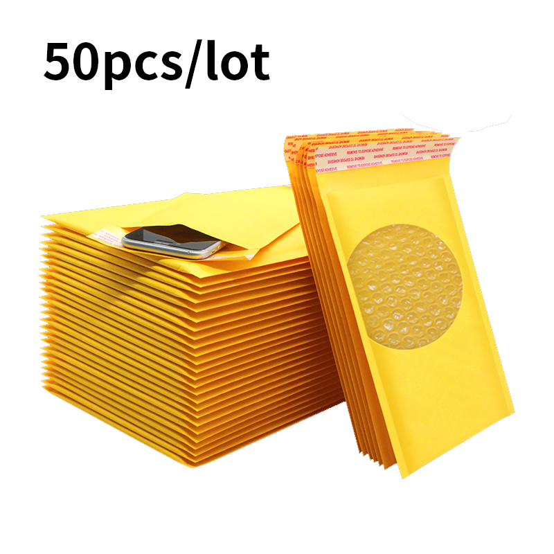 50pcs Bubble Mailer Kraft Paper Bubble Envelopes Bags Mailers Padded Shipping Envelope With Bubble Mailing Bag Drop Sh