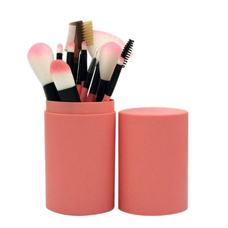 12Pcs Makeup Brush Set Eyeshadow Eyeliner Blending Pencil Brushes 7 Colors With Handle Round Box Cosmetic Beauty Toiletry