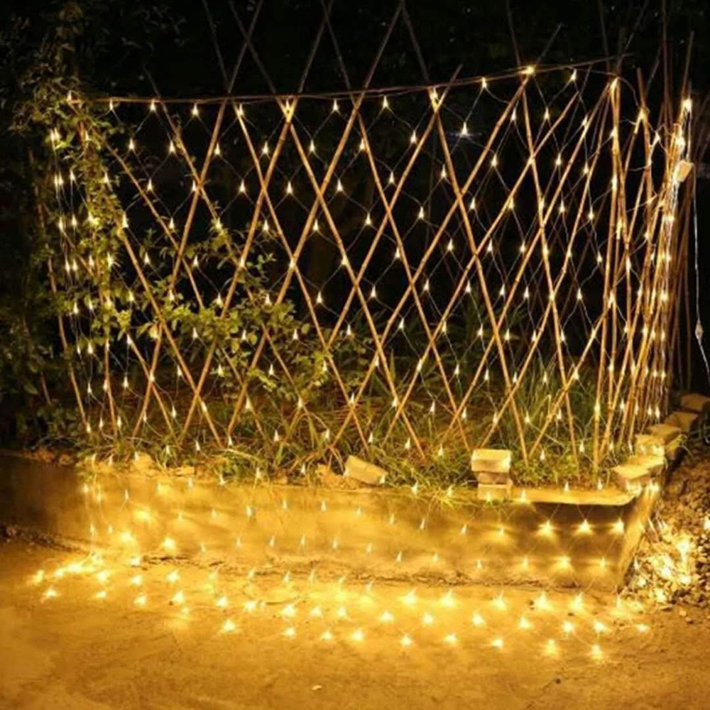 Image 4 - Solar powered Led Net Mesh String Light 1.1x1.1M 2x3M Home Garden Window Curtain Decoration lights for Christmas Wedding-in Solar Lamps from Lights & Lighting
