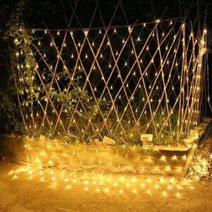 Image 4 - Solar powered Led Net Mesh String Light 1.1x1.1M 2x3M Home Garden Window Curtain Decoration lights for Christmas Wedding