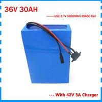 Taxa aduaneira livre 1500 w 36 v 30ah bicicleta elétrica bateria 36 v 35ah bateria de íon de lítio com 50a bms 42 v 3a carregador 26650 célula|Bateria de bicicleta elétrica| |  -