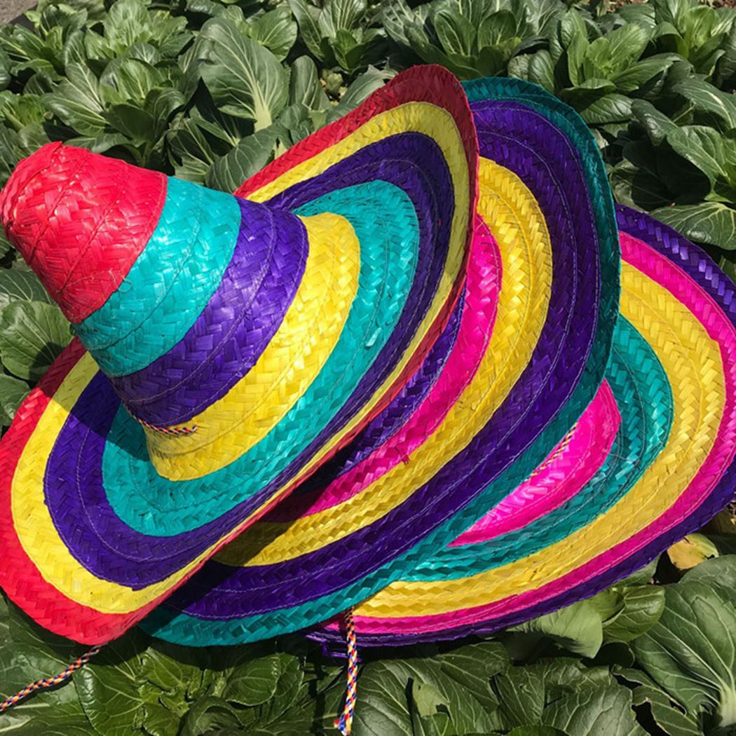 Mexican Hat Natural Men Straw Mexican Sombrero Hat Women Colorful Birthday Party Hats Sombrero Hat Straw Hat Party Costume