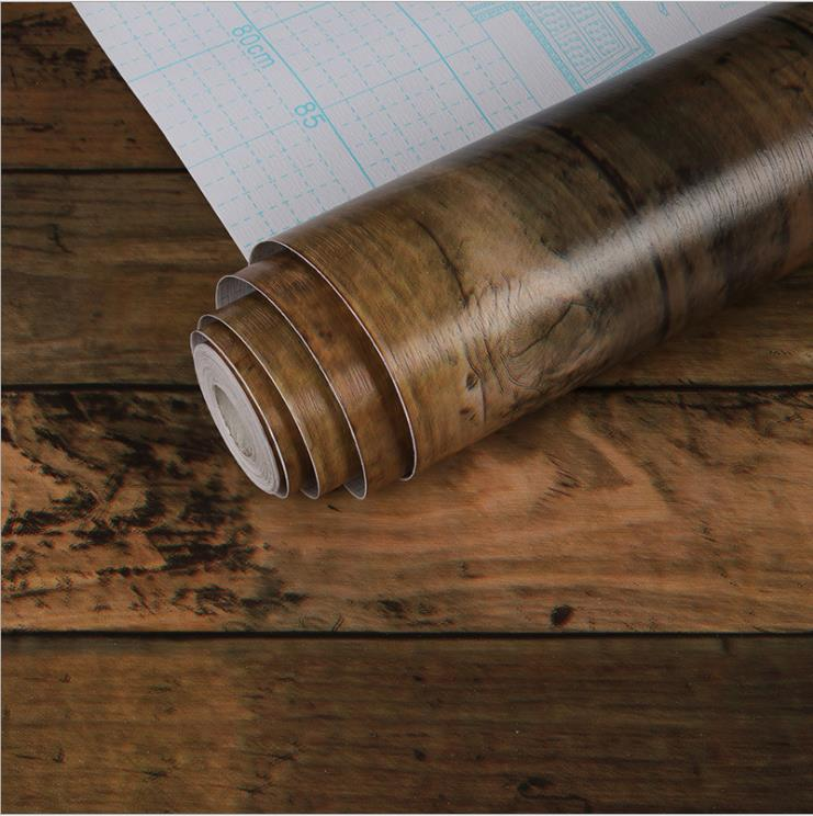 Wood Self-adhesive Sticker Waterproof PVC Wallpaper Furniture Renovation Stickers Home Decor Film