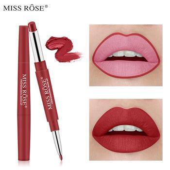 Miss rosa 2 em 1 double ended lábio forro batom à prova dwaterproof água pigmentos duradouros cor maquiagem beleza cosméticos tslm1