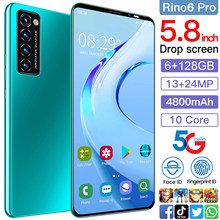 Rino6 pro 5.8 Inch 6+128GB 10 Core 4800mAh Andriod 10 Mobile Phone Face ID Smartphones Cellphones Dual SIM 13+24MP Andriod Phone