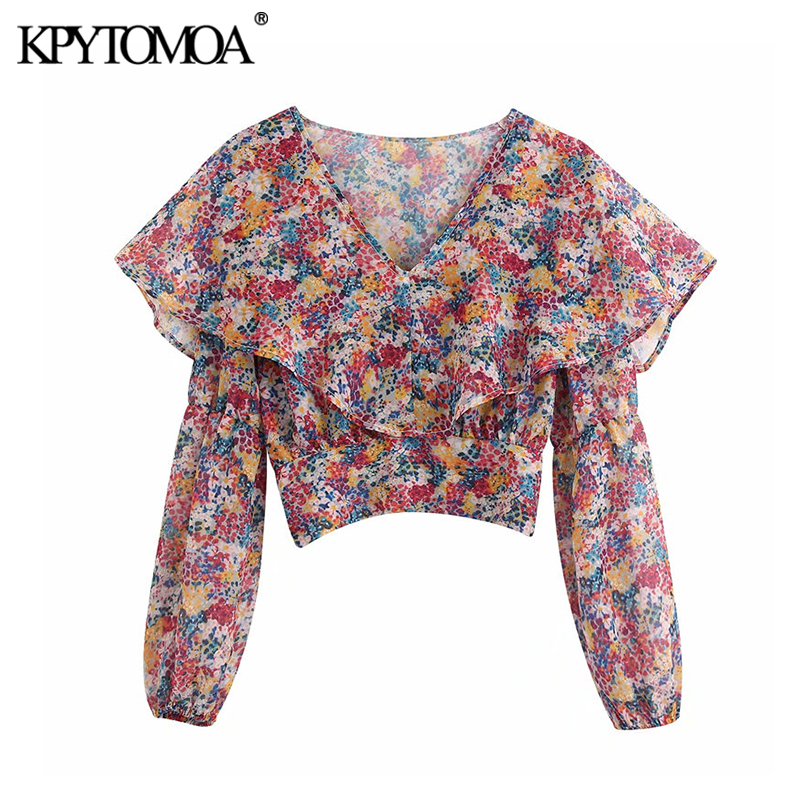 KPYTOMOA Women 2020 Sweet Fashion Floral Print Cropped Blouses Long Sleeve Ruffled Back Elastic Female Shirts Blusas Chic Tops