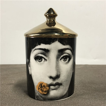 Lady Face Candle Holder Human Face Jar Candelabra Retro Storage Bin Ceramic Cafts Home Decoration Jewerlly Storage Box 26