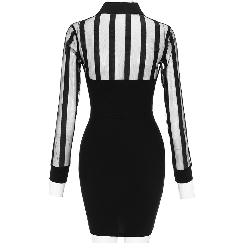 Vestido Fashion Women Long Sleeve Sheer Striped Mesh Patchwork Bodycon Casual Work Dress Undefined