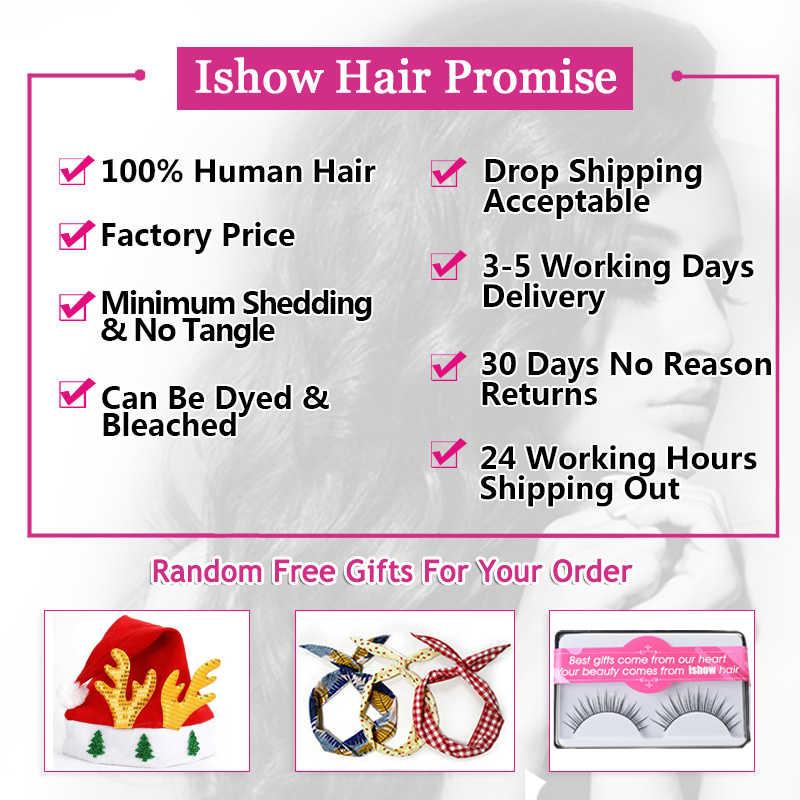 Ishow волнистые пряди с закрытием, 100% человеческие волосы, пряди с закрытием, бразильские волосы, волнистые пряди с закрытием, не Реми
