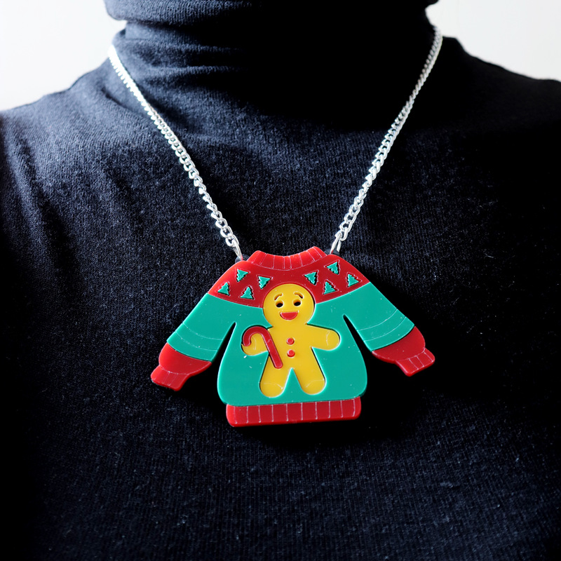 2021 Christmas Sweater Pendant Necklace for Women Gingerbread Man Chain Girls Kids Cute Trendy Jewelry Acrylic Accessories