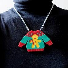 2021 natal camisola pingente colar para mulheres gingerbread homem corrente meninas crianças bonito na moda jóias acessórios de acrílico