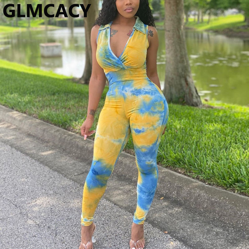 Women Tie Dye Printed Sleeveless Bodycon Jumpsuit Skinny Slim Fit Plus Size Overall