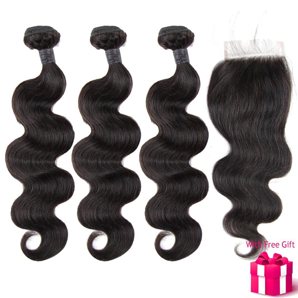 Remy Cabelo malaio Pacotes Com Fecho de Cabelo Humano Real Onda Do Corpo Extensões de Significado Em Hindi Paula Jovens Perto de Mim Barato cabelo