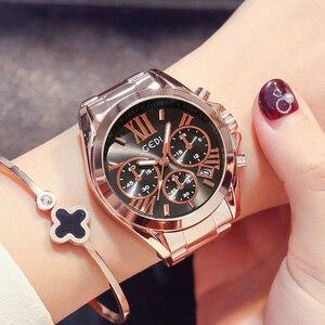 Image 2 - למעלה מותג יוקרה עלה זהב נשים שעון עמיד למים לוח שנה ייחודי קוורץ עסקי שמלת שעונים לנקבה זהב גברת שעון