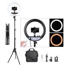 Fosoto FT 240RL 14 дюймовое фотографическое Освещение 3200 5600K кольцевая лампа для камеры фотостудии телефона светодиодная штатив с дистанционным управлением
