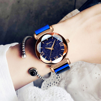 New Elegant Temperament Starry Sky Shiny Delicate Disc Ladies Watch Rose Gold Starry Sky Suction Iron Mesh Belt Durable Watch