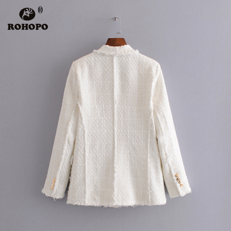ROHOPO Double Breast Gold Buttons Notched Collar White Blazer Tweed Fabric Flaps Side Pockets Tassel Hem  Autumn Outwear #2426