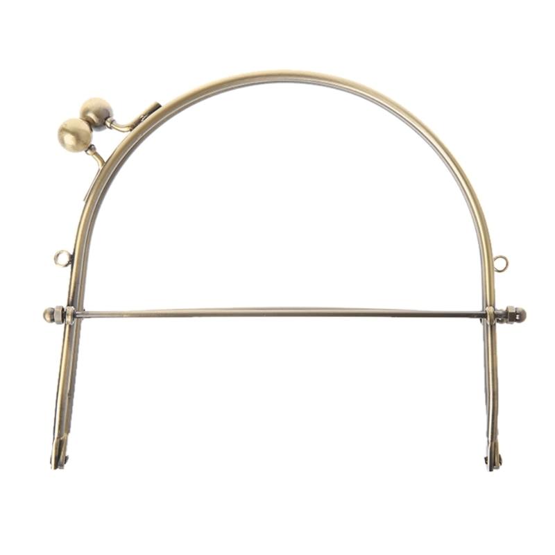 1Pc Metal Half Round Frame Kiss Clasps Lock Purse Bag Handbag Handle Clutch