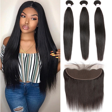 Tuneful Human-Hair Closure Bundles Lace-Frontal Straight Pre-Plucked Malaysian