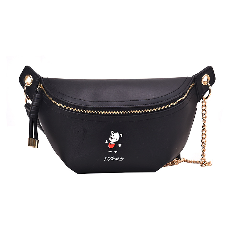 New Women's Bag 2019 New Korean Fashion Xiao Mao Pockets Joker Chain Chest Bag Shoulder Slung Bag Belt Bags