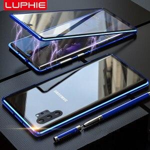 Image 1 - Adsorpcja magnetyczna do Samsung Galaxy Note 10 Plus obudowa metalowa rama dwustronne szkło hartowane Ultra Slim, odporna na wstrząsy pokrywa