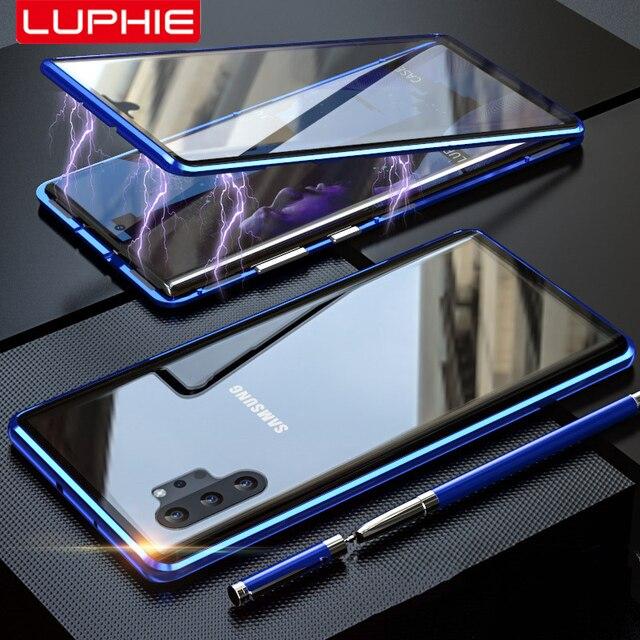 Adsorpcja magnetyczna do Samsung Galaxy Note 10 Plus obudowa metalowa rama dwustronne szkło hartowane Ultra Slim, odporna na wstrząsy pokrywa