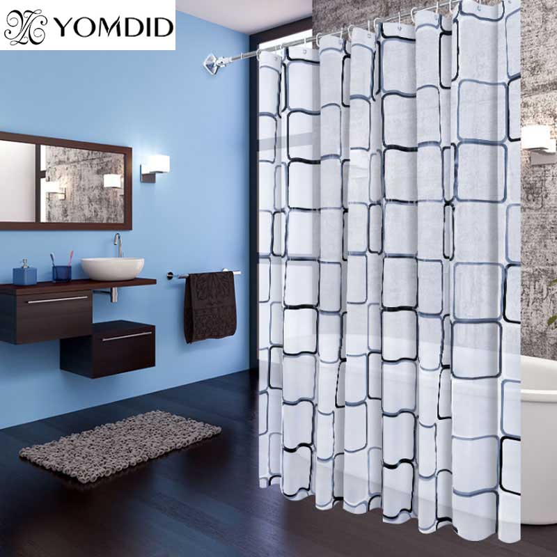 Bathroom Shower Curtains 100% Polyester Fiber Waterproof Bath Curtain Modern Geometric Plaid Pattern Home Decoration Curtains