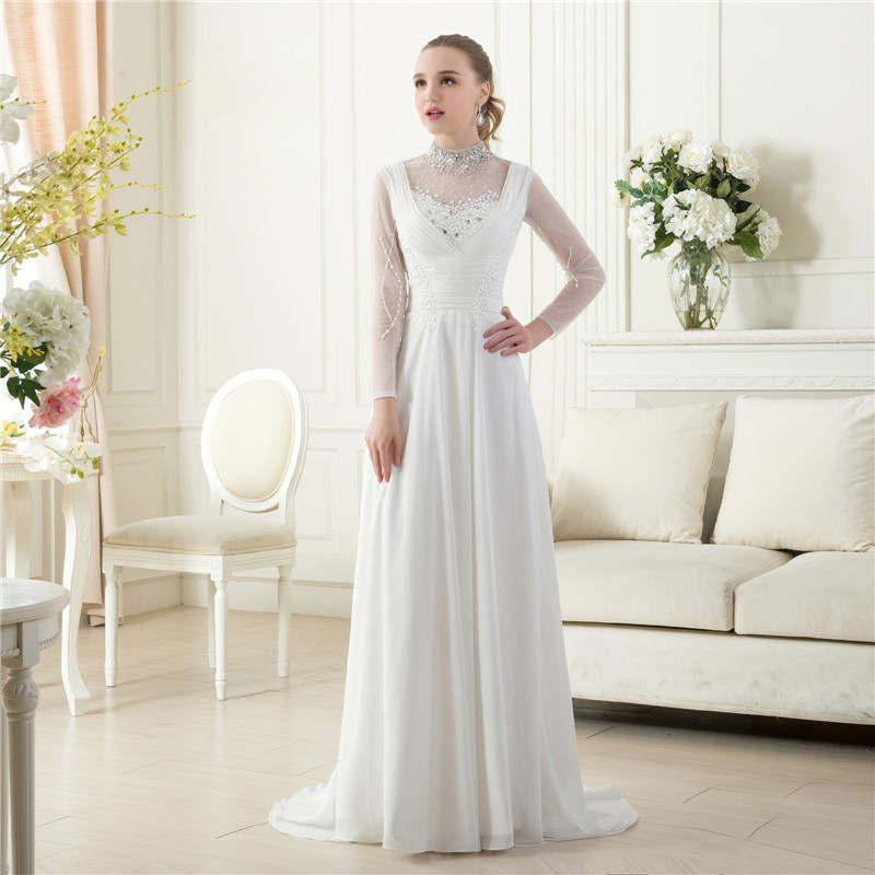 Elegant Beach Bridal Gown Real Sample Ivory High Neck Long Sleeves Floor Length Plus Size Beaded Pearl Chiffon Beach Bridal Gown