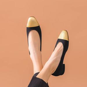 Image 5 - BeauToday 얕은 펌프 여성 정품 암소 가죽 천으로 라운드 발가락 슬립 온 봄 가을 레이디 로우 힐 신발 수제 18034