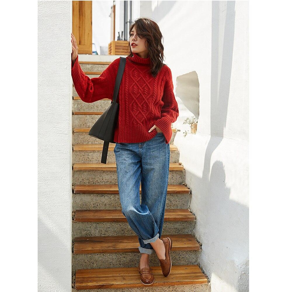 Вязаный женский свитер, кашемировый свитер большого размера, милые розовые свитера, зимняя одежда, пуловер с высоким воротом, красная роско