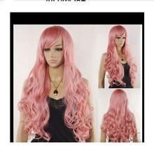 +01441@Q8++New C5osplay Cos Fashion Long Wavy Pink Color Wig