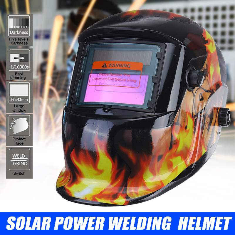 Máscara de Soldagem Capacete de Soldagem Lente para Máquina de Solda Escurecimento Rápido Solar Automático Faixa Ajustável Mig Mma Elétrica