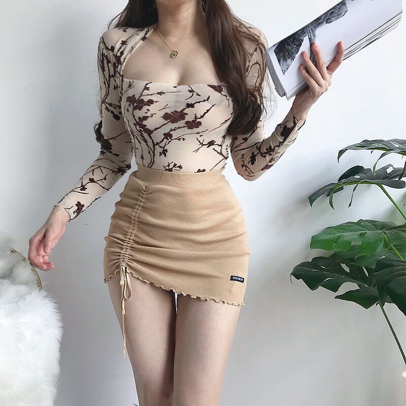 Hf526a833bdaf4775b8c9da012c0e61c5Z - XIBANI Irregular high waist elastic short skirt tight package hip side drawcord knitted mini skirt sexy fashion street