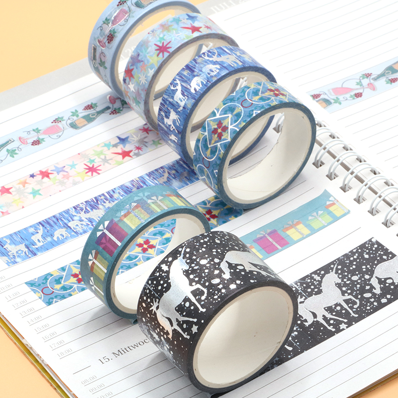 1PC Decorative Snow Deer Christmas Gift Washi Tape Rice Paper DIY Scrapbooking Adhesive Masking Tape 1.5cm*5m Stationery