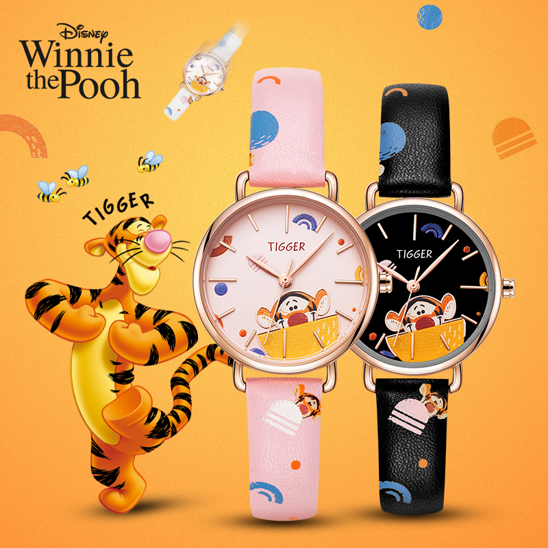 Disney Original Winnie The Pooh Tigger Cartoon Kids Quartz Watches Fashion Waterproof Child Watch Female Reloj Mujer Gift Clock