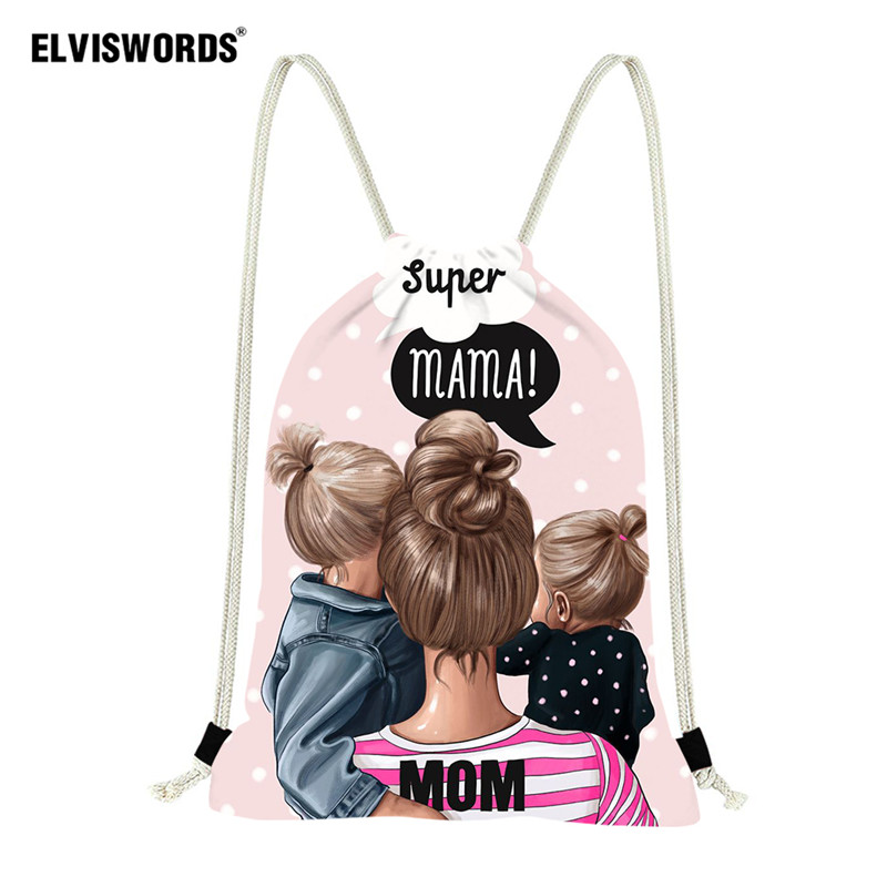 ELVISWORDS Super Mom Design Drawstring Bag Women Yoga String Bag Gymbag School Backpacks For Kid Girls Ladies Beach Summer Bags